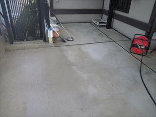 ガレージ土間の洗浄後