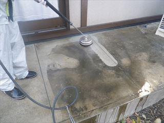 テラス土間の高圧洗浄