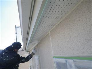 軒の塗装上塗り1回目