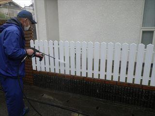 フェンスの洗浄