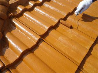 屋根の上塗り2回目