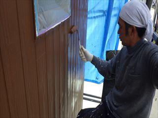 外壁サイディング上塗り塗装2回目