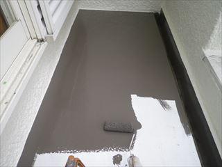 ベランダ底板の上塗り2回目