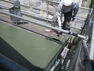 屋根カラーベスト上塗り1回目