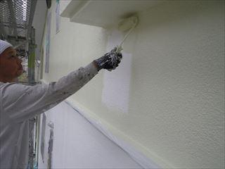 2階外壁ガイナ上塗り1回目