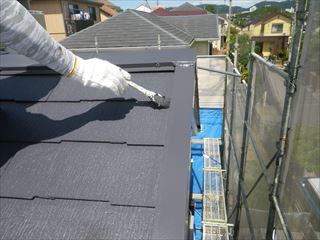 屋根上塗り2回目刷毛