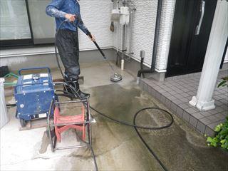 ガレージ土間の洗浄