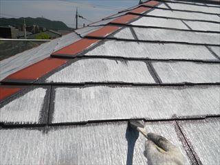 大屋根の上塗り1回目刷毛