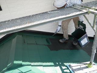 下屋上塗り1回目