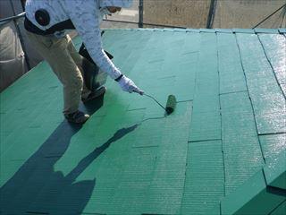 大屋根上塗り2回目