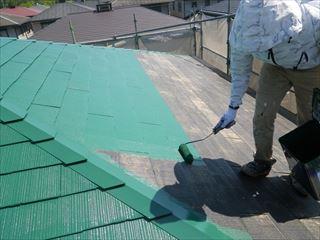 大屋根上塗り1回目